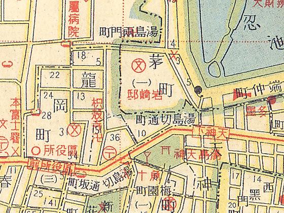 昭和初期の湯島天神周辺地図