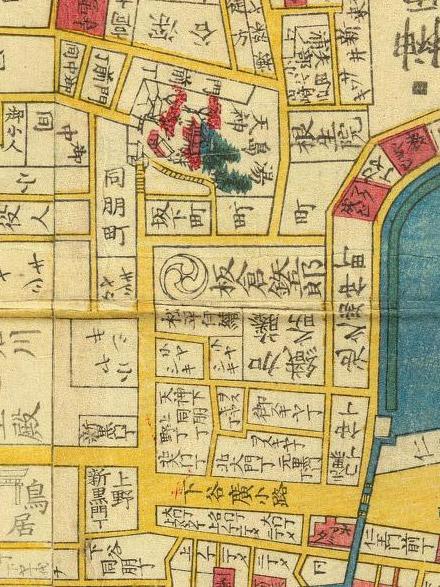 安政の頃の広小路から湯島天神地図