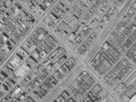 昭和38年の三原橋周辺航空写真