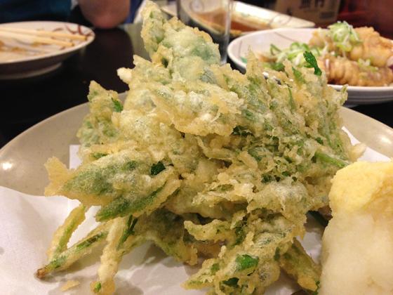 酒蔵「升亀」、明日葉天ぷら