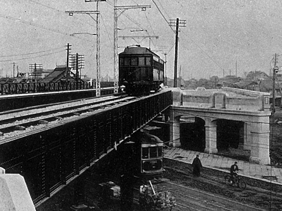 神田駅開業当時の鍛冶町大通橋