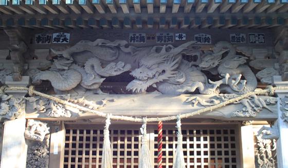 海南刀切神社の彫刻