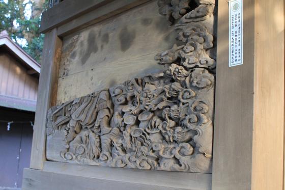 海南刀切神社の彫刻(八岐の大蛇の退治)