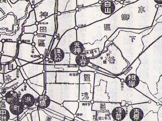東京花街分布図(下谷中心)