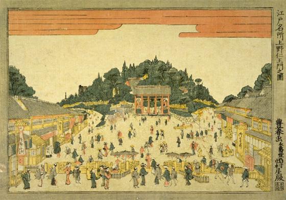 上野名所仁王門の図